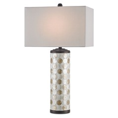 Currey and Company Seafair Bronze Gold/natural Table Lamp with Rectangle Shade