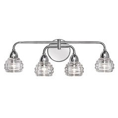 Transitional Chrome LED Bathroom Light with Clear Shade 3000K 1600LM