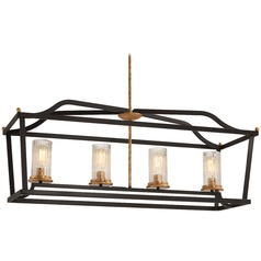 Minka Lavery Posh Horizon Sand Black with Gold Leaf Island Light with Cylindrical Shade