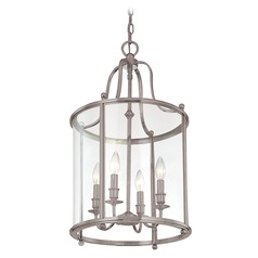 Pendant Light with Clear Glass in Antique Nickel Finish