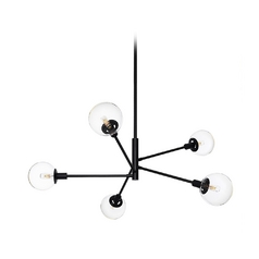 Mid-Century Modern Pendant Light Black Clear Glass Globe by Sonneman