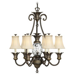 7-Light Tropical Chandelier with Beige/Cream Shade in Pearl Bronze Finish