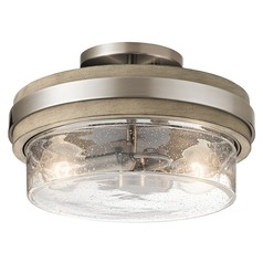 Seeded Glass Semi-Flushmount Light Pewter Grand Bank by Kichler Lighting