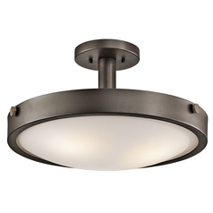 Kichler Lighting Semi-Flushmount Light with White Glass in Olde Bronze Finish 42245OZ