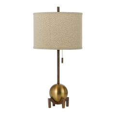 Modern Table Lamp with Beige / Cream Shade in Satin Brass Finish