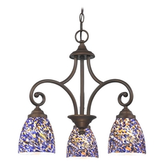 Mini-Chandelier with Blue Glass in Neuvelle Bronze Finish