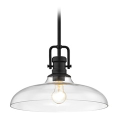 Industrial Clear Glass Pendant Light Black Finish  14-Inch Wide