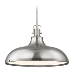 Nautical Metal Pendant Light Satin Nickel 18.38-Inch Wide