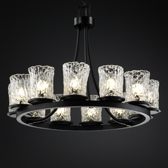 Justice Design Group Veneto Luce Collection Matte Black Chandelier