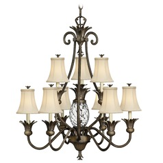 10-Light Tropical Chandelier with Beige / Cream Shades in Pearl Bronze Finish
