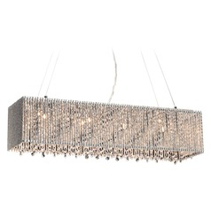 PLC Lighting Airiux Polished Chrome Island Light with Rectangle Shade