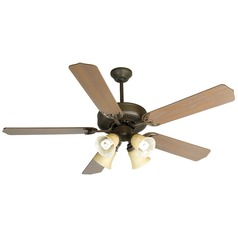 Craftmade Pro Builder 204 Aged Bronze Textured Ceiling Fan with Light