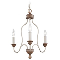 Feiss Hartsville 3-Light Mini Chandelier in Chalk Washed / Beachwood
