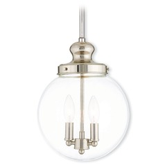 Livex Lighting Sheffield Polished Nickel Mini-Pendant Light with Globe Shade