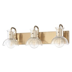 Riley Aged Brass Bathroom Light Mitzi by Hudson Valley