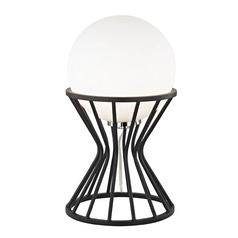 Mitzi Petra Polished Nickel / Black Table Lamp with Globe Shade