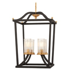 Minka Lavery Posh Horizon Sand Black with Gold Leaf Pendant Light with Cylindrical Shade