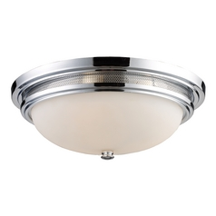 Flushmount Light with White Glass in Polished Chrome Finish