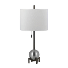 Modern Table Lamp with White Shade in Silver Finish