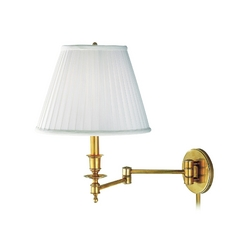 Swing Arm Lamp with White Shade in Aged Brass Finish