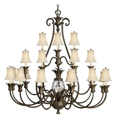 21-Light Pearl Bronze Pinapple Chandelier with Beige / Cream Shades