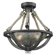 Elk Lighting Natural Rope Silvered Graphite/polished Nickel Accents Semi-Flushmount Light