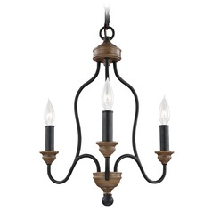 Feiss Lighting Hartsville Dark Weathered Zinc / Weathered Oak Mini-Chandelier