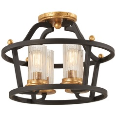 Minka Lavery Posh Horizon Sand Black with Gold Leaf Semi-Flushmount Light