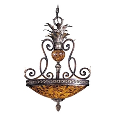 Pendant Light with Amber Glass in Cattera Bronze Finish