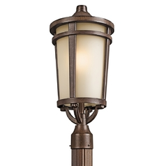 Kichler Post Light with Beige / Cream Glass in Brown Stone Finish