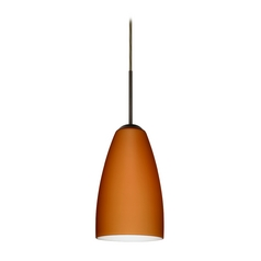 Modern Pendant Light with Amber Glass in Bronze Finish