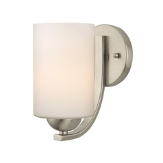 Satin Nickel Wall Sconce with White Cylinder Glass Shade