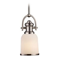 Elk Lighting Brooksdale Satin Nickel LED Mini-Pendant Light with Bowl / Dome Shade