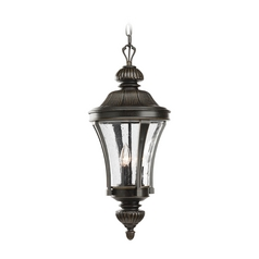 Progress Forged Bronze Outdoor Hanging Light with Clear Glass