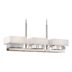 Crystal Island Light with White Shades in Polished Nickel Finish