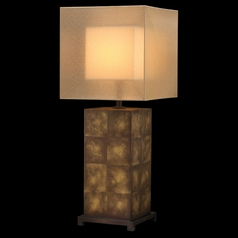 Fine Art Lamps Quadralli Chiaroscuro Gold Table Lamp with Square Shade