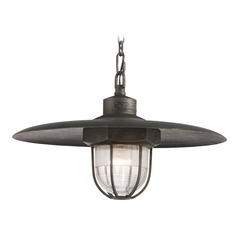 Troy Lighting Acme Aged Silver Pendant Light with Bowl / Dome Shade