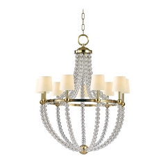 Chandelier with Beige / Cream Paper Shades in Aged Brass Finish