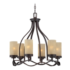 Chandelier with Beige / Cream Glass in Tuscana Finish