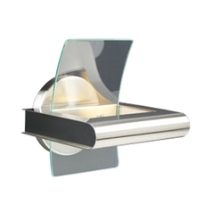 Modern Sconce Wall Light with Clear Glass in Satin Nickel Finish