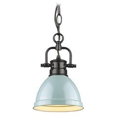 Golden Lighting Duncan Black Mini-Pendant Light with Seafoam Shade