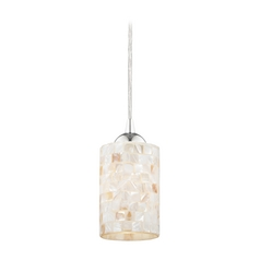 Design Classics Lighting Mosaic Mini-Pendant Light with Cylinder Glass in Chrome Finish 582-26 GL1026C