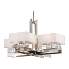 Crystal Chandelier with White Shades in Polished Nickel Finish
