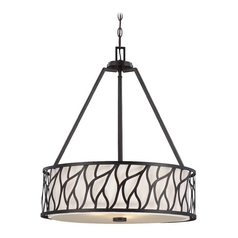 Drum Pendant Light with White Cage Shades in Artisan Finish