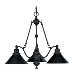 Chandelier with Black Shades in Mission Dust Bronze Finish