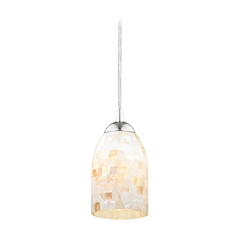 Mosaic Mini-Pendant Light with Dome Shade in Chrome Finish