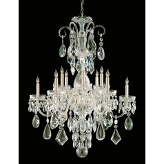 Crystorama Traditional 12-Light Crystal Chandelier in Polished Brass