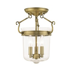 Livex Lighting Rockford Antique Brass Semi-Flushmount Light