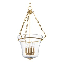 Pendant Light with Clear Glass in Aged Brass Finish