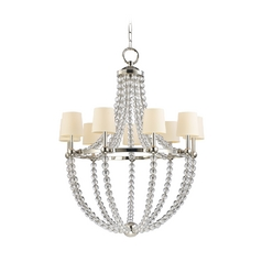 Chandelier with Beige / Cream Paper Shades in Polished Nickel Finish